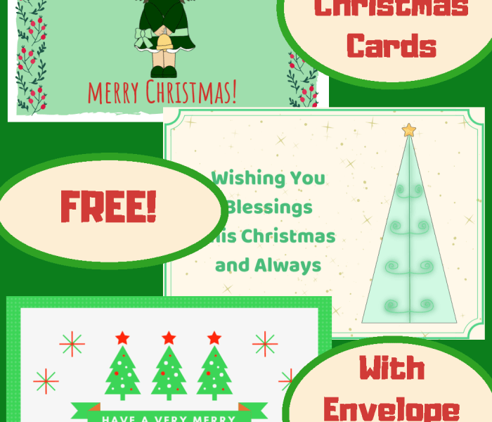 Christmas Cards with Envelope Template