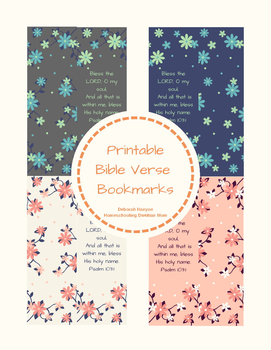 picture relating to Printable Bible Bookmarks known as Psalm 103:1 Printable Bible Verse Bookmarks - Homeschooling Dieian Mother