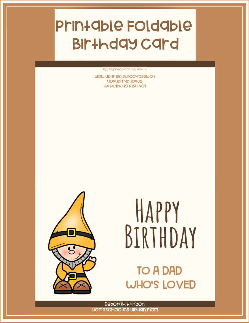 picture regarding Printable Dad Birthday Cards titled Printable Birthday Card - Father - Homeschooling Dieian Mother