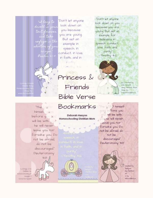 princess unicorn bible bookmarks