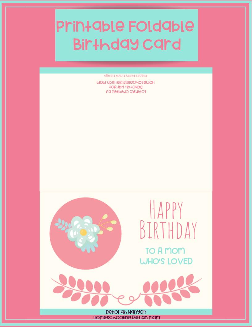 Tremendous Printable Birthday Card Mom Homeschooling Dietitian Mom Personalised Birthday Cards Bromeletsinfo