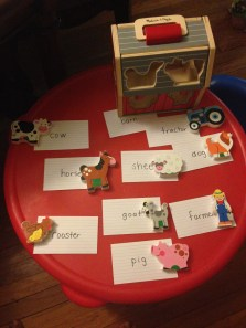 Worked on farm animal recognition and spelling with Z.