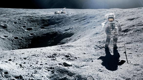 Charlie Duke walking on the moon
