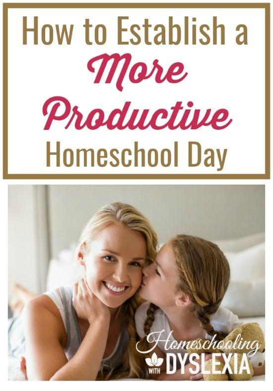 There's not a mom out there that doesn't desire a more productive homeschool day. Juggling the many needs of running a home, caring for family needs, and nurturing a marriage can often leave us out of time or out of energy when it comes to teaching our kids at home.  HomeschoolingwithDyslexia.com #homeschooling #homeschool #timemanagement #productivity