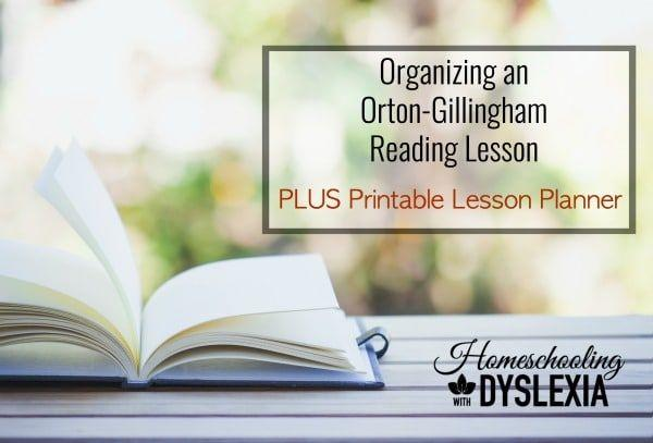 Orton-Gillingham Reading Lesson & Free Printable Planner