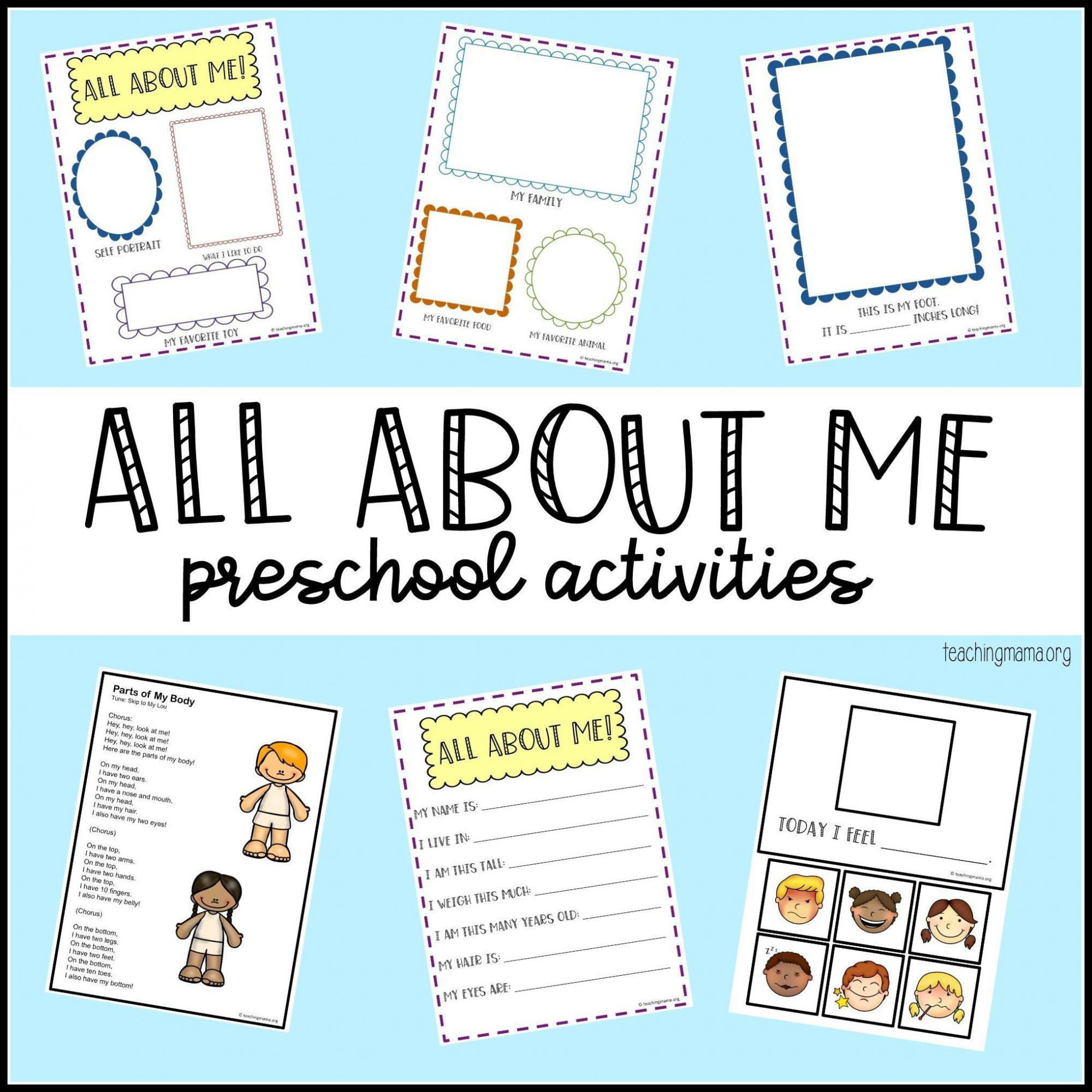 Free All About Me Printables For Preschoolers