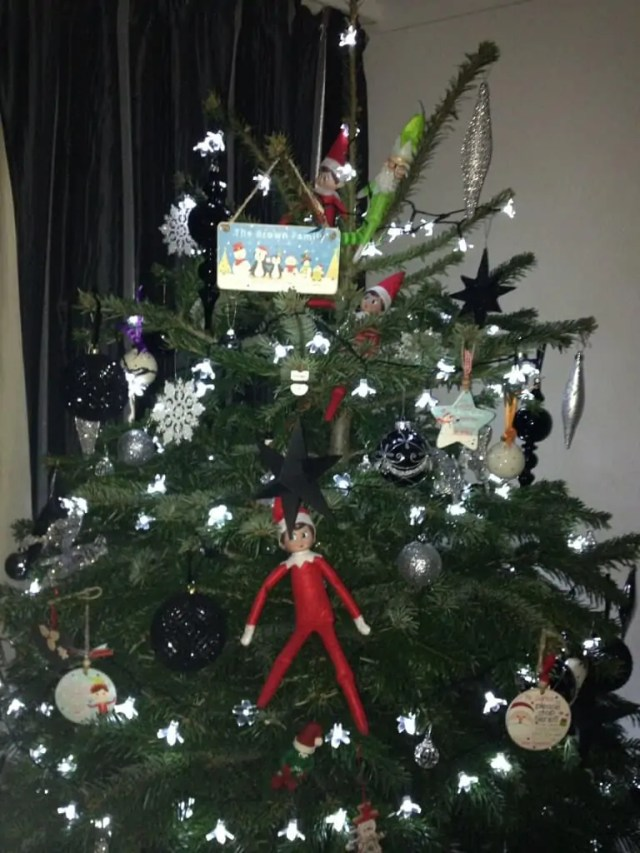 Elf hiding in the Christmas tree