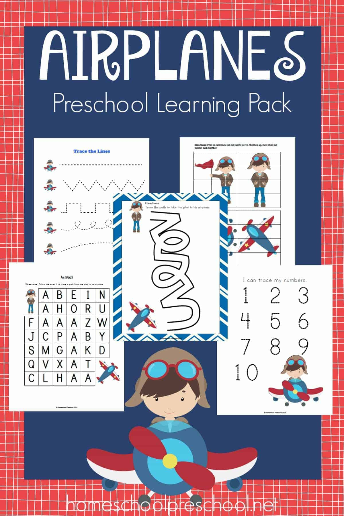 Free Airplanes Preschool Learning Pack
