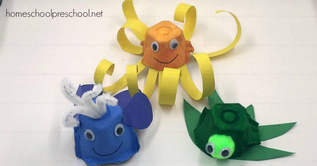 Easy Egg Carton Ocean Animals Craft Kids Will Love