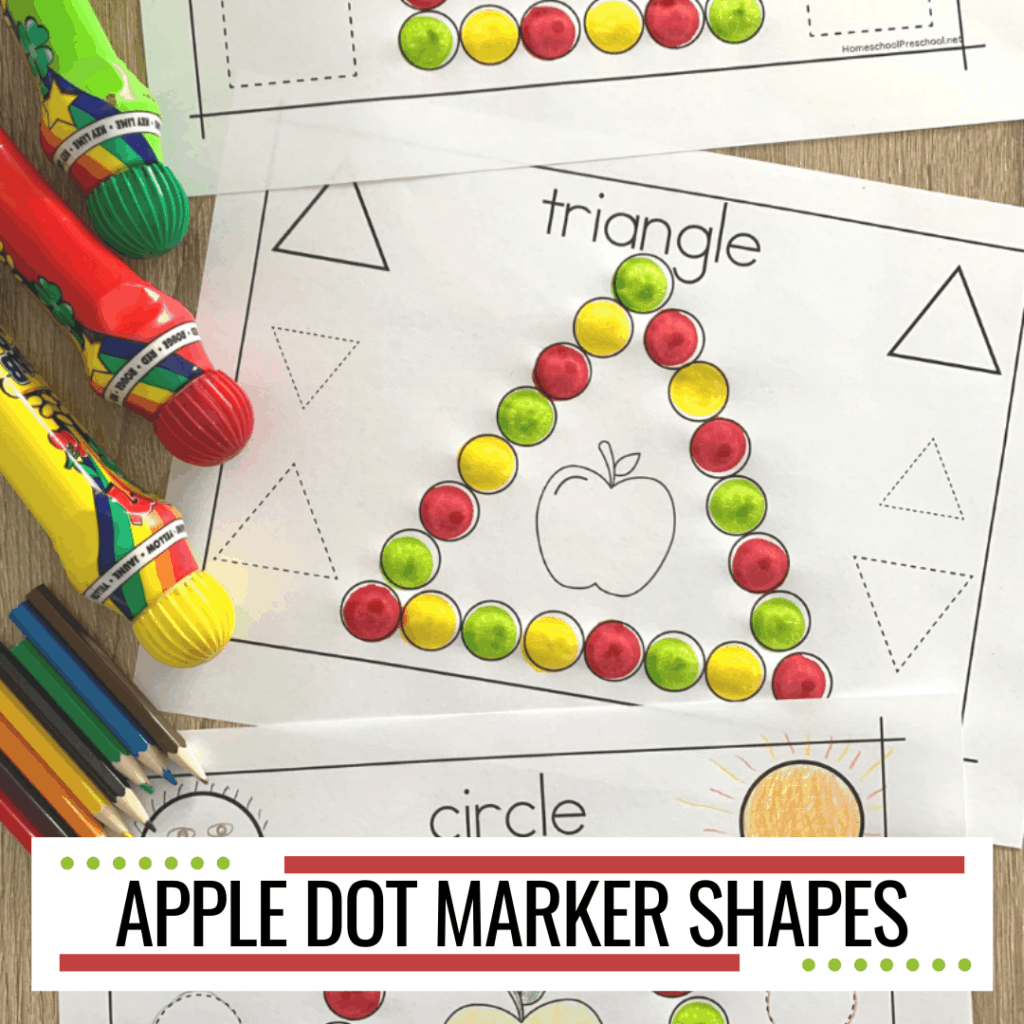 Free Dot Marker Shapes Apple Printable Worksheets