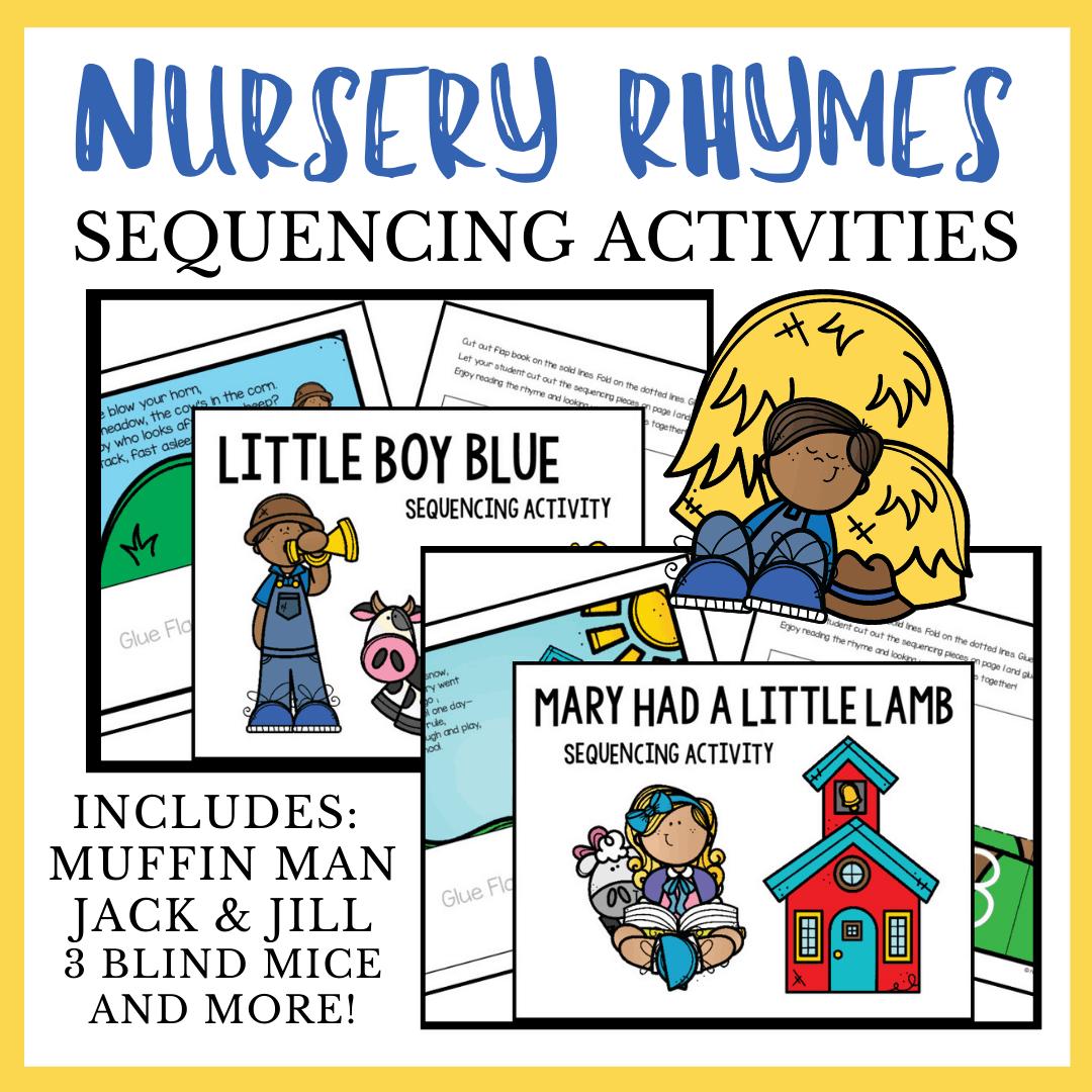 Nursery Rhyme Sequencing Bundle With 5 Rhymes