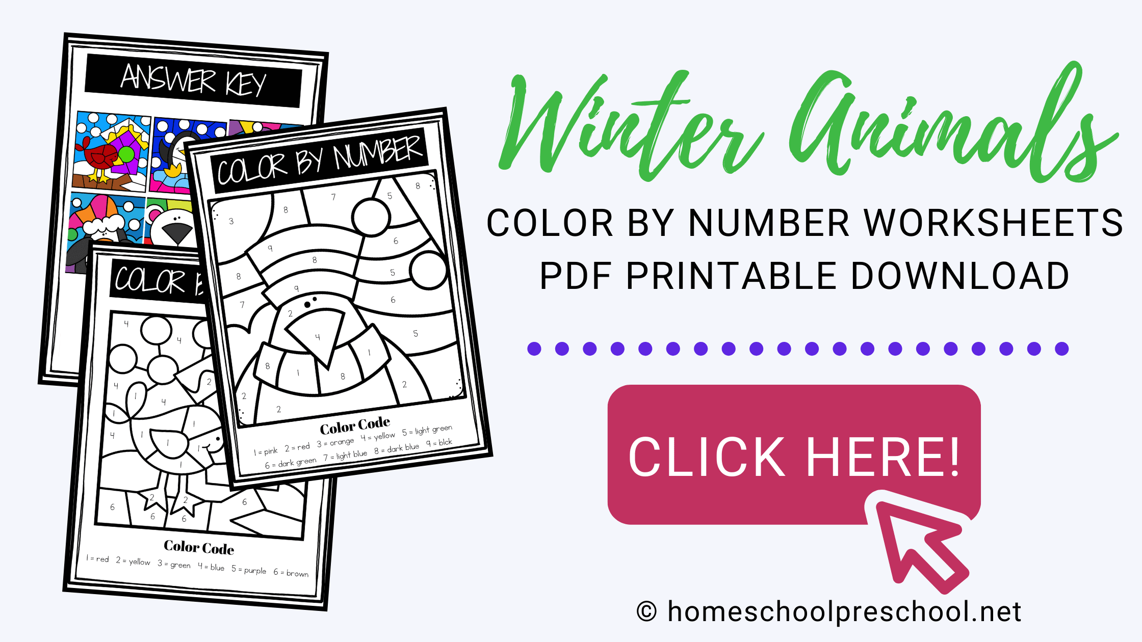 Winter Animals Color By Number Worksheets