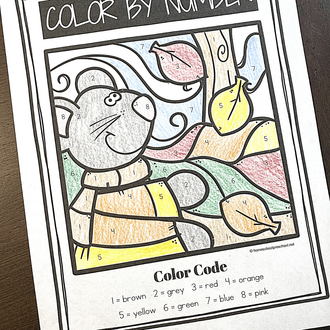 Four Seasons Color By Number Worksheets For Preschoolers
