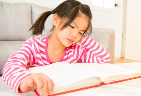 Struggling Reader Issues elementary school girl who hates reading looking at book frustrated
