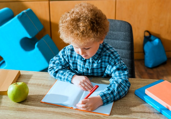 young caucasian boy sitting at desk writing in notebook for home schooling