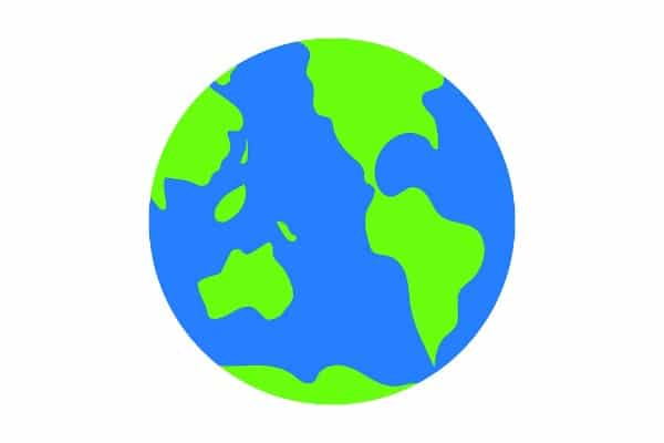 Activities for Earth Day blue and green cartoon earth on white background