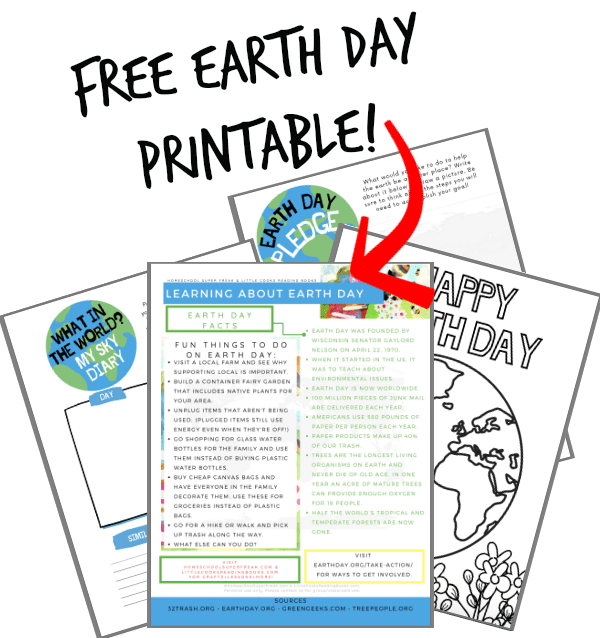 FREE EARTH DAY PRINTABLE with four pages of coloring sheets