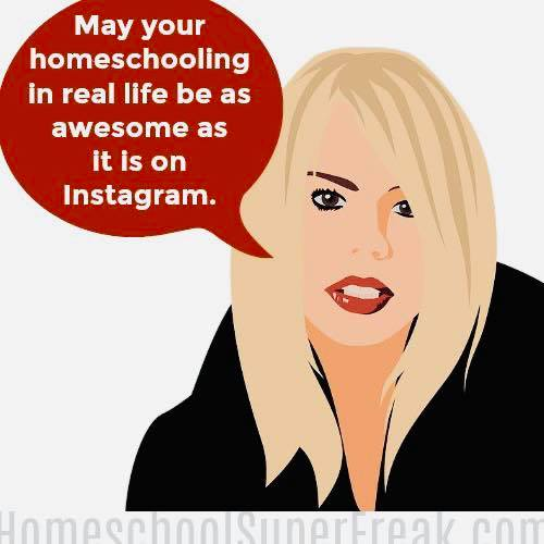 Best Funny Homeschool Memes with woman and text bubble saying may your homeschooling in real life be as awesome as it is on Instagram