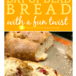 Day of the Dead Food and Pan de Muerto Recipe text over day of dead bread broken open on a table