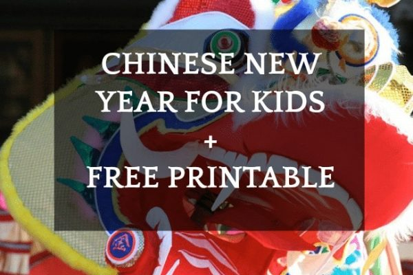 Chinese New Year activities for kids text over colorful chinese dragon head