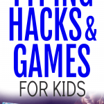 Typing Hacks Lessons Techniques and Typing Games for Kids text with a teen girl typing on a laptop with flowers on the cover