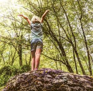 little girl standing on a rock in the woods with arms up