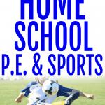 Homeschool sports and homeschool PE fitness kid kicking a soccer ball on a field
