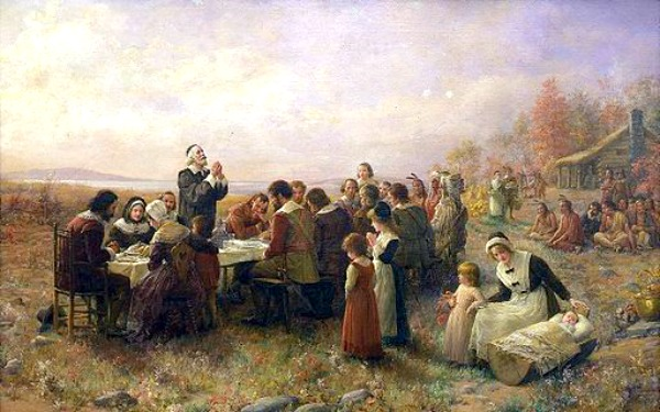 Learn About First Thanksgiving and Go On a Virtual Field Trip painting of first Thanksgiving and colonists sitting at table