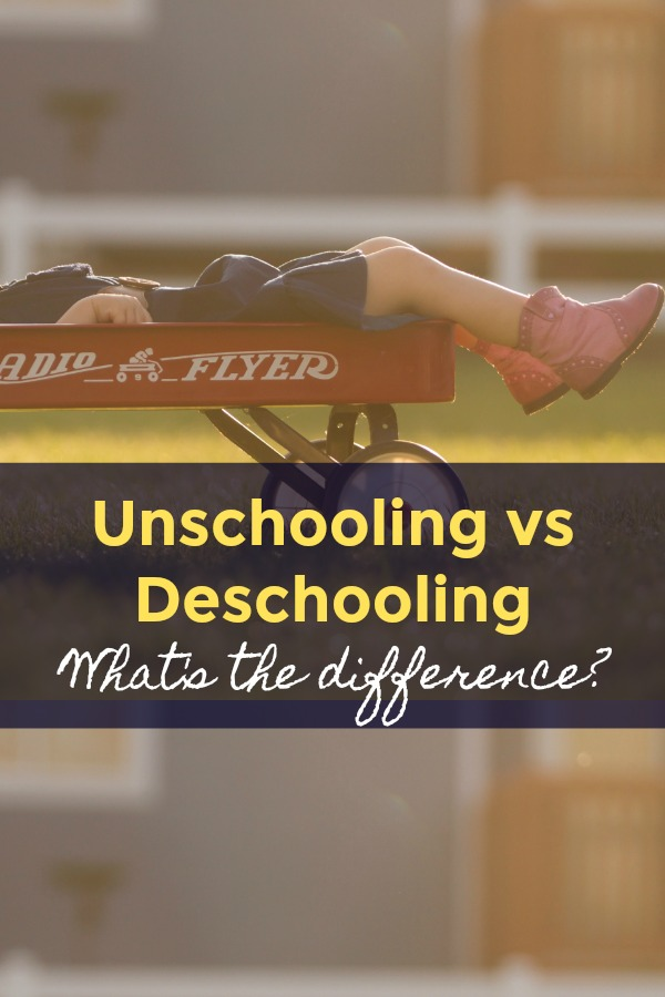 Learn The Difference Between Unschooling and Deschooling kid lying in a radio flyer red wagon with feet over the edge