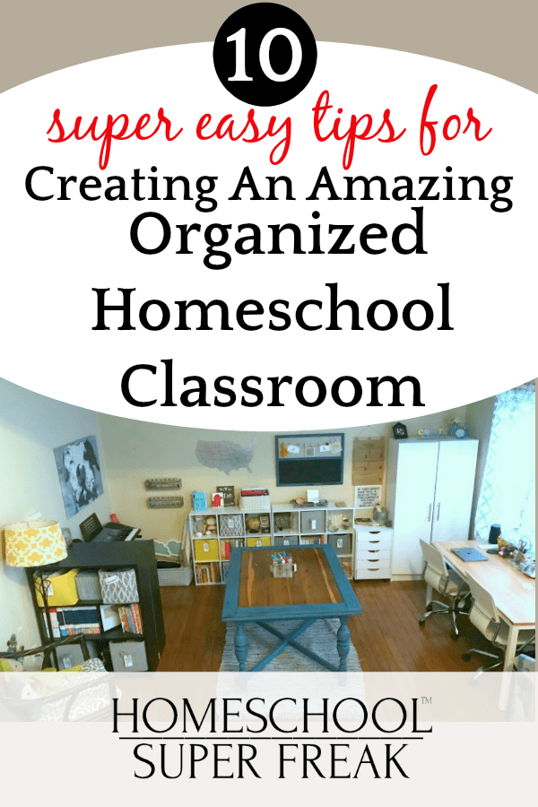 home classroom with table and bookshelves