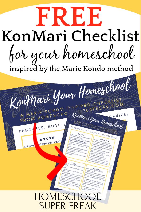 Free KonMari Checklist for Homeschooling Inspired by the Marie Kondo Method