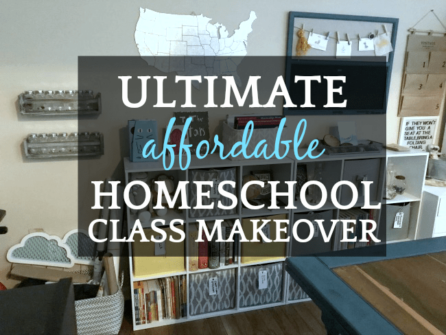 How To Set Up A Homeschool Room: home classroom with table, bookshelves, and metal US map on wall