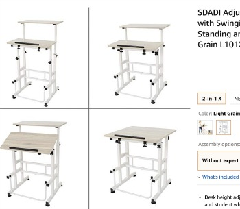 adjustable standing desk in four different stages