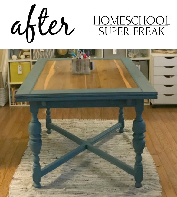 Homeschool Room Makeover Table Refinish After