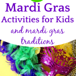 mardi gras mask on a yellow table with 26 Mardi Gras Activities and Mardi Gras Traditions title overlay