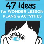 47 Wonder Activities and Lesson Plans (Book and Movie): drawing of a boy's face and head on a solid blue background