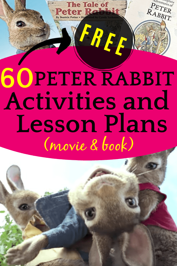 60 FREE Peter Rabbit Activities and Lesson Plans (Movie and Book): Peter rabbit character laying in the arms of another rabbit character