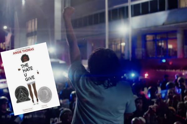 59 The Hate U Give Lesson Plans and Activities (Book and Movie): African American girl speaking to a crowd with police lights in background