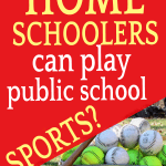 Homeschoolers in public school sports bucket of baseballs with a baseball mitt and bat leaning against it