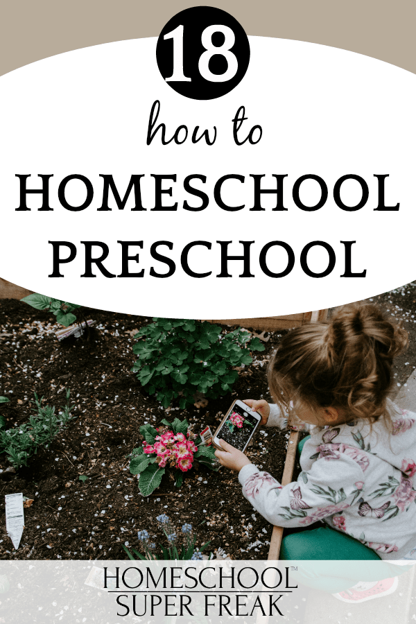 #18 IN HOW TO HOMESCHOOL SERIES: How to homeschool kindergarten and preschool little girl taking a pictures of a flower with an iPhone
