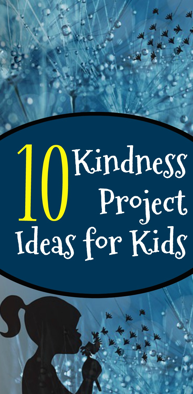 10 EASY RANDOM ACTS OF KINDNESS IDEAS text over a shadow image cartoon of a girl blowing a dandelion