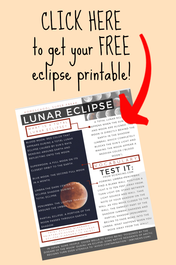 FREE LUNAR ECLIPSE WORKSHEET PRINTABLE