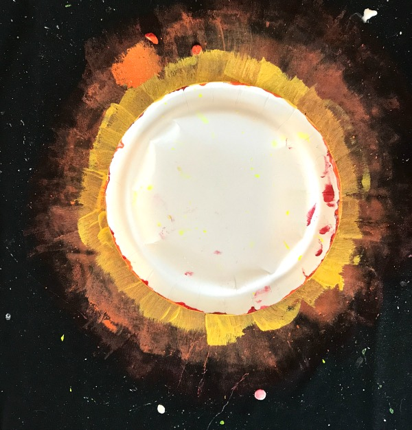 Solar Eclipse Tee Craft: Paint the Yellow Layer Out from the Paper Plate on Top of the Orange Layer
