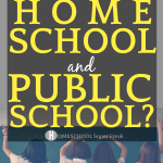 What is Hybrid Schooling? Can Kids Homeschool and Go To Public School?: 4 little girls wearing school uniforms and looking at a chalkboard in a classroom