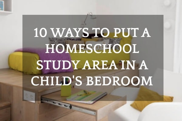 10 Examples of How to Put a Homeschool Room Study Area in a Bedroom: bed on platform with a pull out desk