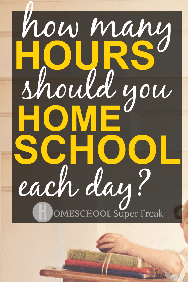 HOW MANY HOURS IS HOMESCHOOL? with a little girl sitting at a school desk