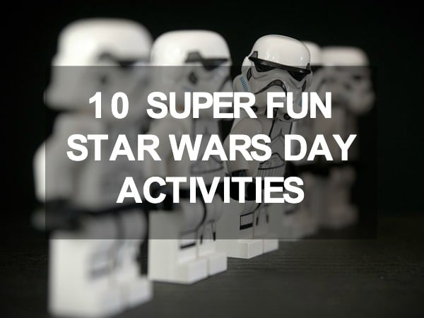 10 Super Fun Star Wars Day Activities: white storm trooper legos standing in a line