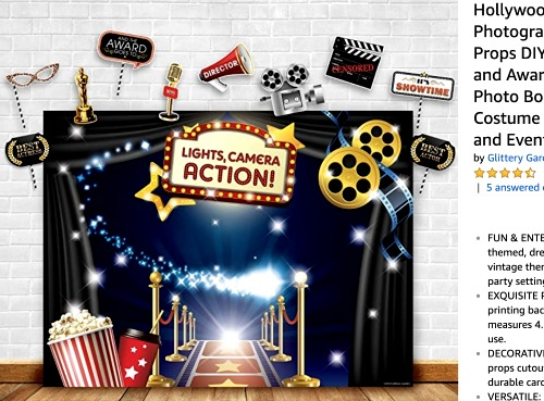 Sleepover Ideas Movie Night Slumber Party photo backdrop of movie props like movie reels red carpet popcorn