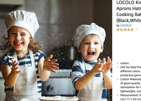 Sleepover Ideas: Pizza and PJs a boy and girl in apron and chef hats clapping hands with flour on them