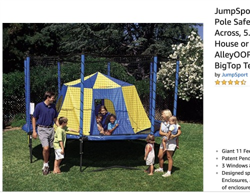 Sleepover Ideas Trampoline Tent Slumber Party big top circus like tent on a big trampoline